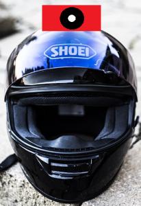Anbringen einer Actioncam am Motorrad Helm - oben
